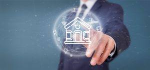 Businessman holding Smart home interface with icon, stats and data 3d rendering 1